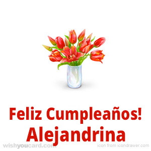 happy birthday Alejandrina bouquet card