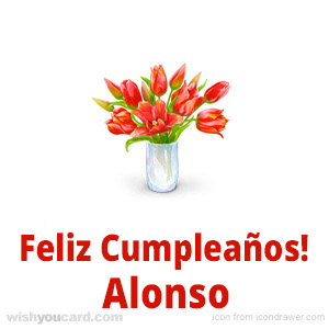happy birthday Alonso bouquet card