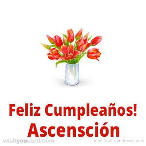 happy birthday Ascensción bouquet card