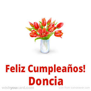 happy birthday Doncia bouquet card