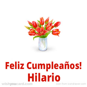 happy birthday Hilario bouquet card