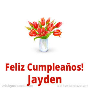 happy birthday Jayden bouquet card