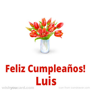 happy birthday Luis bouquet card