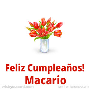 happy birthday Macario bouquet card