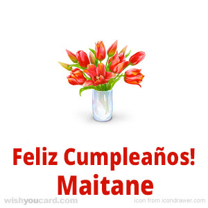 happy birthday Maitane bouquet card