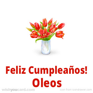 happy birthday Oleos bouquet card