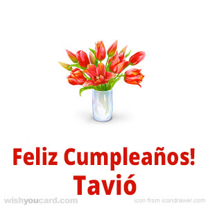 happy birthday Tavió bouquet card
