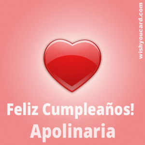 happy birthday Apolinaria heart card