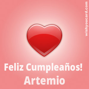 happy birthday Artemio heart card