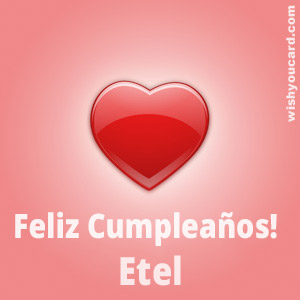 happy birthday Etel heart card