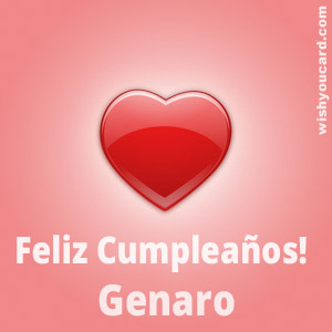 happy birthday Genaro heart card
