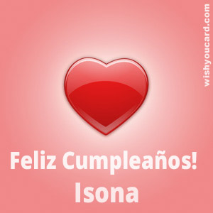 happy birthday Isona heart card