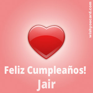 happy birthday Jair heart card