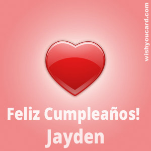 happy birthday Jayden heart card
