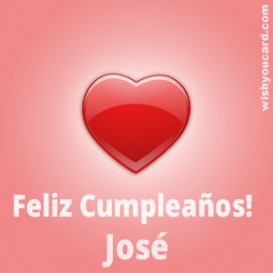 happy birthday José heart card