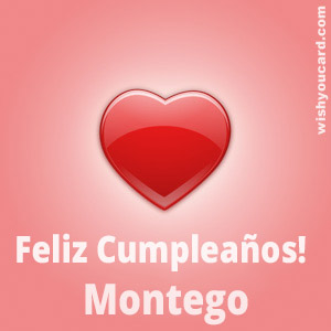 happy birthday Montego heart card