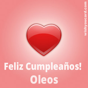 happy birthday Oleos heart card