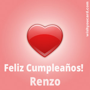 happy birthday Renzo heart card