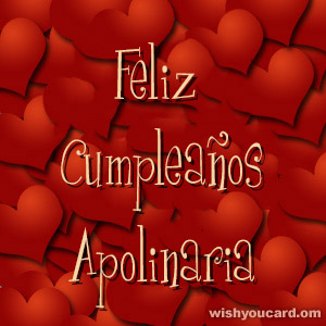 happy birthday Apolinaria hearts card