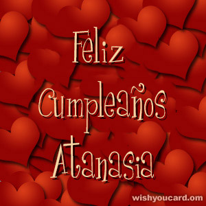 happy birthday Atanasia hearts card