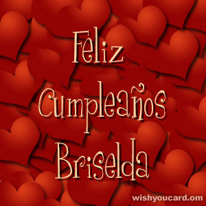 happy birthday Briselda hearts card