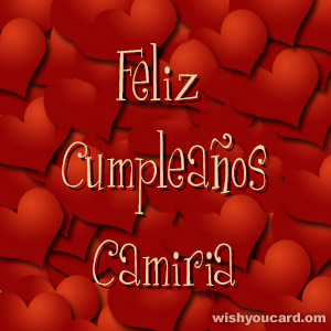 happy birthday Camiria hearts card