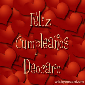 happy birthday Deocaro hearts card