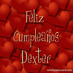happy birthday Dexter hearts card