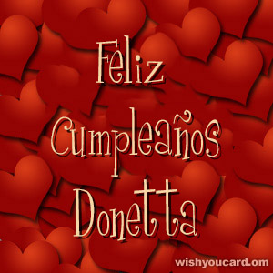 happy birthday Donetta hearts card