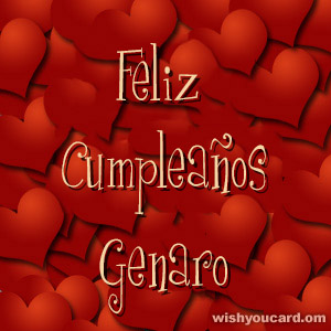 happy birthday Genaro hearts card