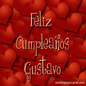 happy birthday Gustavo hearts card