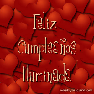 happy birthday Iluminada hearts card