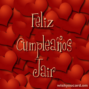 happy birthday Jair hearts card