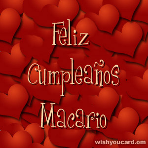 happy birthday Macario hearts card