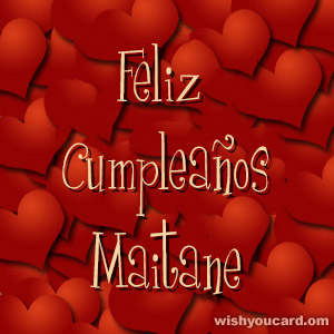 happy birthday Maitane hearts card