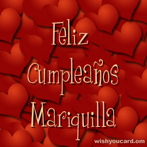 happy birthday Mariquilla hearts card