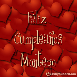 happy birthday Montego hearts card