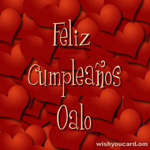 happy birthday Oalo hearts card