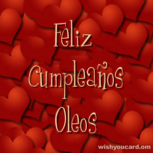 happy birthday Oleos hearts card