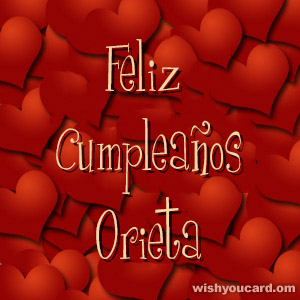 happy birthday Orieta hearts card