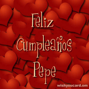 happy birthday Pepe hearts card