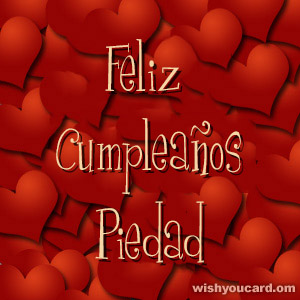 happy birthday Piedad hearts card
