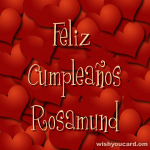 happy birthday Rosamund hearts card