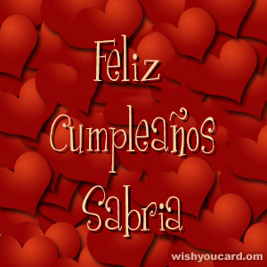 happy birthday Sabria hearts card