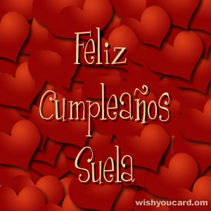 happy birthday Suela hearts card