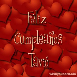 happy birthday Tavió hearts card