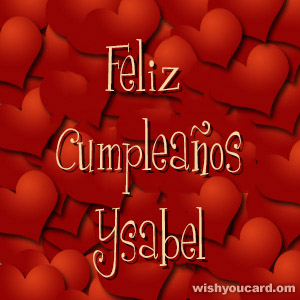 happy birthday Ysabel hearts card