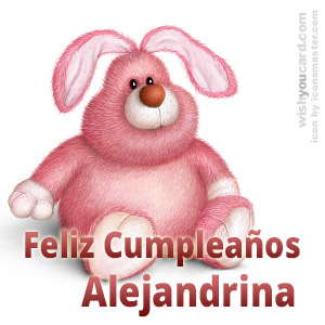 happy birthday Alejandrina rabbit card