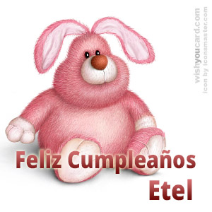 happy birthday Etel rabbit card
