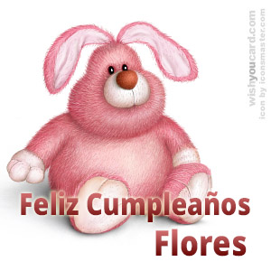 happy birthday Flores rabbit card